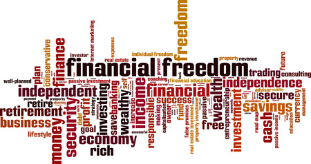 Financial freedom word cloud concept. Vector illustration Illustration