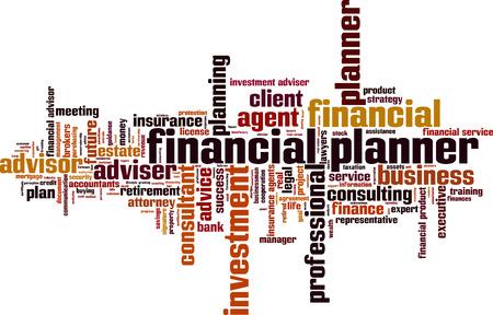 planner: Financial planner word cloud concept. Vector illustration