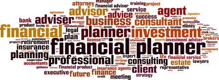 adviser: Financial planner word cloud concept. Vector illustration