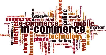 mobile commerce: Mobile commerce word cloud concept. Vector illustration