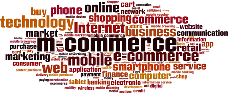 b2c: Mobile commerce word cloud concept. Vector illustration