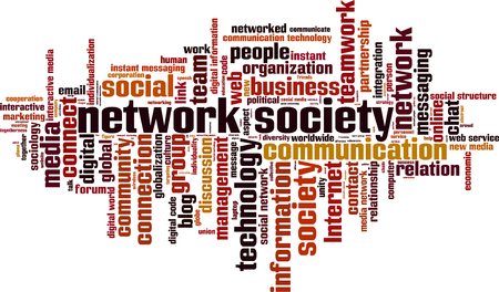 networked: Network society word cloud concept. Vector illustration