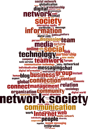 instant messaging: Network society word cloud concept. Vector illustration