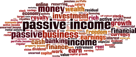 earned: Passive income word cloud concept. Vector illustration