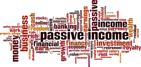 passive: Passive income word cloud concept. Vector illustration