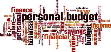 personal finance: Personal budget word cloud concept. Vector illustration Illustration