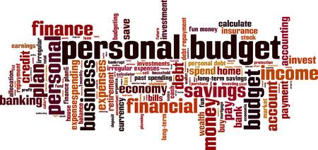 elementos de protecci�n personal: Presupuesto personal concepto de nube de palabras. Ilustraci�n vectorial Vectores