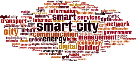 government services: Smart city word cloud concept. Vector illustration