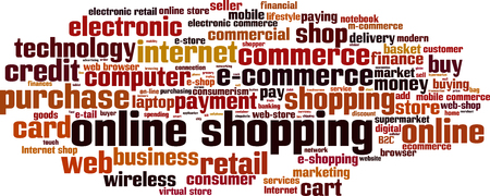 b2c: Online shopping word cloud concept. Vector illustration