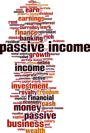 passive income: Passive income word cloud concept. Vector illustration
