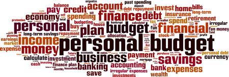 Personal budget word cloud concept. Vector illustration Ilustração