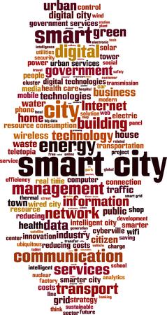スマートシティ単語雲概念。ベクトル図