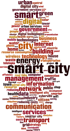 smart grid: Smart city word cloud concept. Vector illustration
