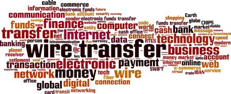 entity: Wire transfer word cloud concept. Vector illustration