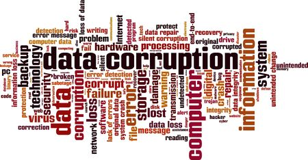 corruption: Data corruption word cloud concept. Vector illustration