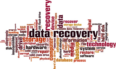Data recovery word cloud concept. Vector illustration