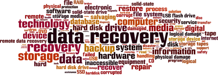 data storage device: Data recovery word cloud concept. Vector illustration