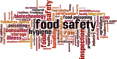 food additives: Food safety word cloud concept. Vector illustration