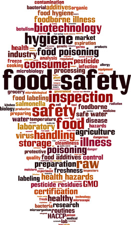 the hygiene: Food safety word cloud concept. Vector illustration