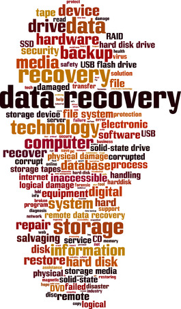 data recovery: Data recovery word cloud concept. Vector illustration