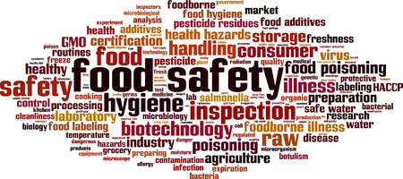 regulated: Food safety word cloud concept. Vector illustration