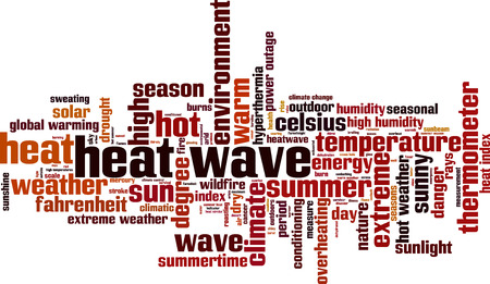 outage: Heat wave word cloud concept. Vector illustration