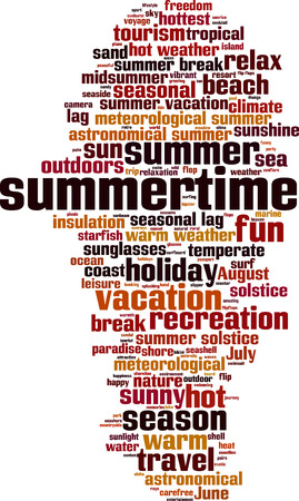 solstice: Summertime word cloud concept. Vector illustration