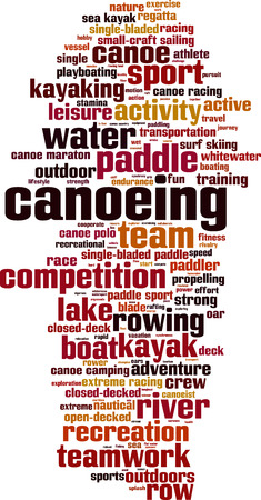 paddler: Canoeing word cloud concept. Vector illustration