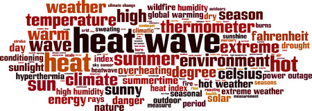 humid: Heat wave word cloud concept. Vector illustration