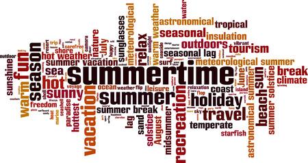 Summertime word cloud concept. Vector illustration