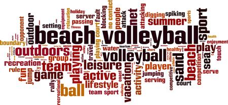 volleyball serve: Playa concepto de nube de palabras voleibol. Ilustraci�n vectorial