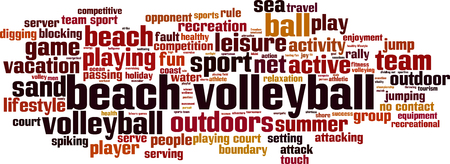 opponent: Beach volleyball word cloud concept. Vector illustration Illustration