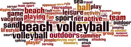 voleibol: Playa concepto de nube de palabras voleibol. Ilustración vectorial