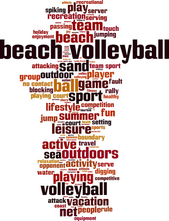 volleyball serve: Beach volleyball word cloud concept. Vector illustration Illustration