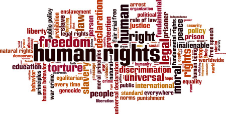 ser humano: Los derechos humanos de concepto de nube de palabras. Ilustración vectorial Vectores