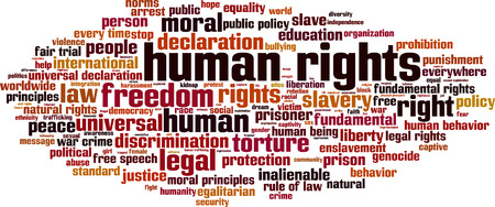 fair trial: Human rights word cloud concept. Vector illustration