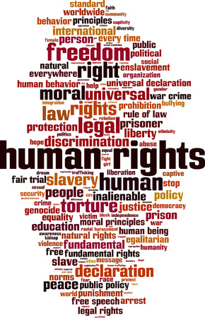 diritti umani: I diritti umani concetto nube parola. Illustrazione vettoriale Vettoriali
