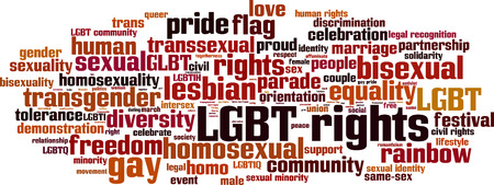 community recognition: LGBT rights word cloud concept. Vector illustration