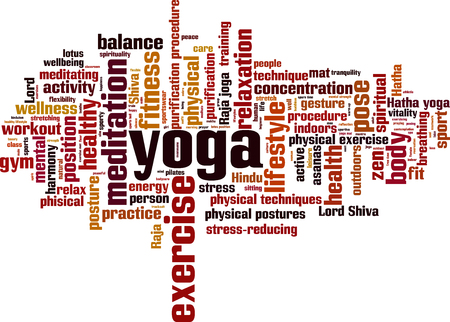 reducing: Yoga word cloud concept. Vector illustration