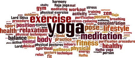 purification: Yoga word cloud concept. Vector illustration