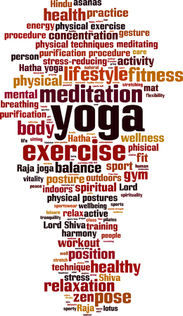 breathing exercise: Yoga word cloud concept. Vector illustration