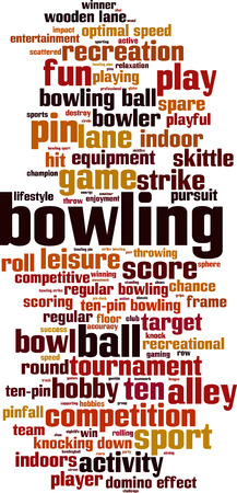 domino effect: Bowling word cloud concept. Vector illustration