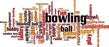 bolos: Bowling palabra nube concepto. Ilustración vectorial