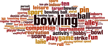 optimal: Bowling word cloud concept. Vector illustration