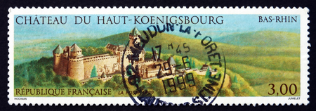 haut: FRANCE - CIRCA 1999: a stamp printed in the France shows Haut-Koenigsbourg Castle, Bas-Rhin, Medieval Castle Located at Orschwiller, Alsace, in the Vosges Mountains, circa 1999