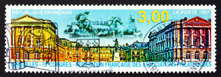 philatelic: FRANCE - CIRCA 1997: a stamp printed in the France shows Versailles, French Federation of Philatelic Associations, 70th Congress, circa 1997 Editorial