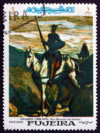 don quijote: FUJEIRA - CIRCA 1967: un sello impreso en la muestra Fujeira Don Quijote y Sancho Panza, Pintura de Honore Daumier, artista y pintor francés, alrededor de 1967
