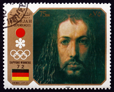 durer: SHARJAH - CIRCA 1972: a stamp printed in the Sharjah UAE shows Self-portrait, Painting by Albrecht Durer, German Painter, Printmaker and Mathematician, circa 1972 Editorial