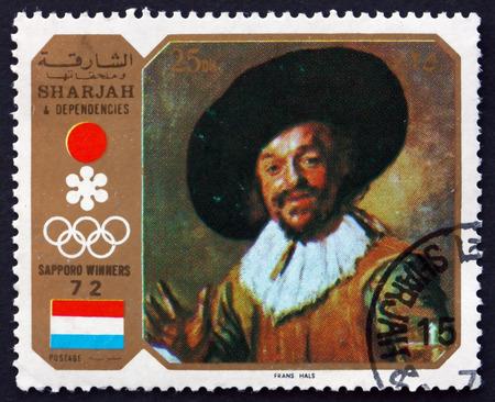 drinker: SHARJAH - CIRCA 1972: a stamp printed in the Sharjah UAE shows The Merry Drinker, Painting by Frans Hals, Duch Painter, circa 1972