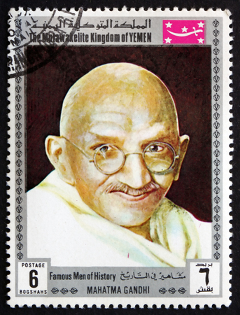 indian postal stamp: YEMEN - CIRCA 1969: a stamp printed in the Yemen shows Mahatma Gandhi, was Leader of Indian Independence Movement in British-ruled India, circa 1969 Editorial